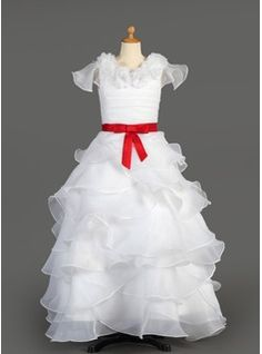Flower Girl Dresses A-Line/Princess Scoop Neck Ankle-Length Organza  Satin Flower Girl Dresses With Ruffle  Sash (010007627)