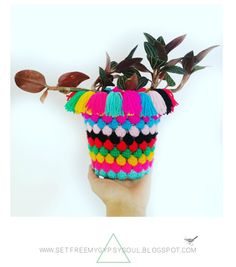 Cute Crochet Plant Pot Socks | Free Crochet Pattern using Popcorn or Bobble stitch. Super quick and easy...I would love this in softer colors!!