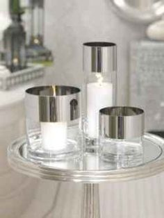 Platinum Band Clear Glass Candleholder/Vase (Clear and Silver) x x Candle Accessories, Home Decor Accessories, Decorative Accessories, Gold Canyon Candles, Best Smelling Candles, Bliss Home And Design, Large Candles, Tall Vases, Glass Candle Holders