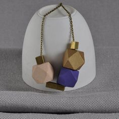 Mauve And Brass 'Cobble Stone' Necklace
