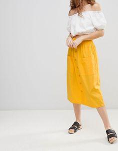 ASOS | ASOS DESIGN - Jupe mi-longue en coton boutonnée sur le devant