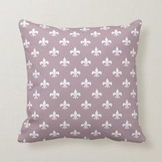Classic French Fleur de Lis Pattern Mauve Throw Pillow | Zazzle.com (sponsored) Classic Throws, Purple Throw Pillows, Shades Of Purple, Free Sewing, Custom Pillows, Home Decor Inspiration, Mauve, Your Design, French