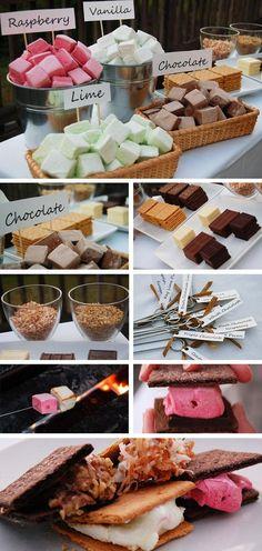 Gourmet S'mores Table, smores table, smores bar wedding, wedding smores