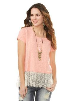 Cato Fashions Lace Hem Henley Top-Plus #CatoFashions