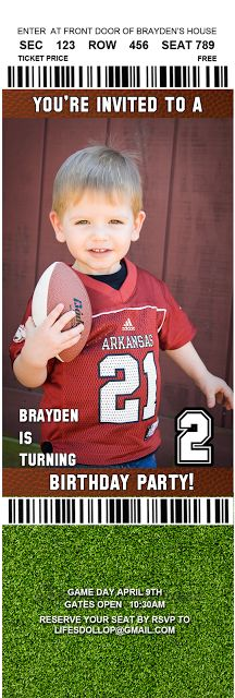 Brayden's Big Game: 2 year old birthday party
