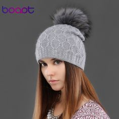 BOAPT diamond crystal double-deck knited rabbit hats women's winter cap for female hat natural raccoon fur pompons caps beanies