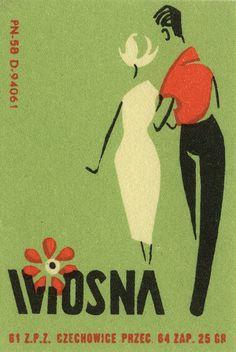 Vintage Polish matchbox label, Spring