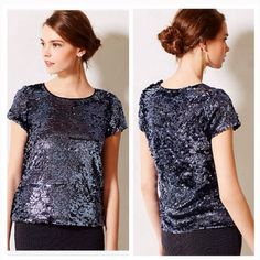 Moving Sale!!!  Blue Sequin Blouse Leifsdotter This top is perfect! New, never worn. I've decided on a dress for the event I purchased this for so I'm passing it along to you! NWT, loose fit, very cute! NO OFFERS PLEASE ❤️ Anthropologie Tops Blouses