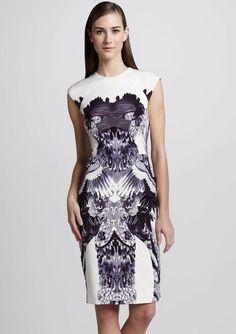 White Sleeveless Crane Print Sheath Dress $67.21