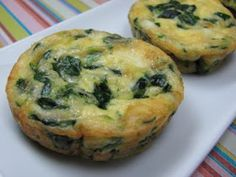 Mini breakfast frittatas. Freeze them, then thaw in the fridge overnight to be ready the next morning. (spinach egg muffins mini frittata)