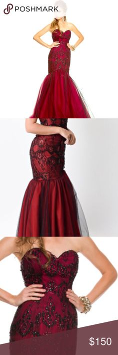 NWOT Red & Black Mermaid Prom Dress NWOT , worn once . Beautiful red and black gown , black and red sequin design & red and black tulle bottom, strapless , sweetheart neckline , zipper on back. ** comes with sheer black shall** Dresses Prom