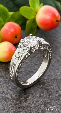 Celtic Engagement Ring with Emerald Accents #GreenLakeJewelry