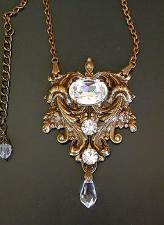 Gothic Crystal Necklace  - Swarovski Crystal on Oxidized Brass - Bridal Jewelry - Victorian Gothic Jewelry by LeBoudoirNoir on Etsy