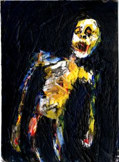 "Zombie Art, acrylic on bristol board ,  original   ,ACEO  jack larson 3.5""x2.5"" #Abstract"