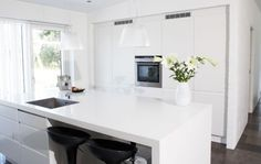 white kitchen-no handles on drawers may be a better option