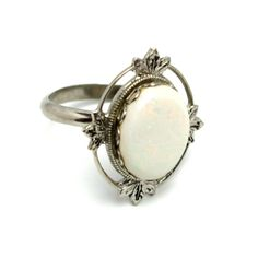 Vintage 1990s White Opal and Sterling Silver Plate Open Work Oval Solitaire Adjustable Ring by TheGemmary on Etsy
