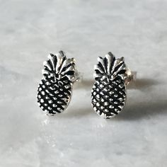 Pineapple ear studs, Sterling silver pineapple ear studs, Pineapple earrings, Tiny fruit earrings, Silver cartilage stud, Silver jewellery by SilverCartel on Etsy