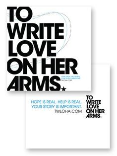 To Write Love On Her Arms Title design printed on a white cardstock poster flat. It is double sided and 12 inches by 12 inches.