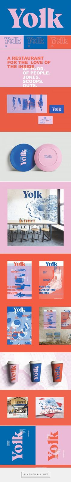I love the colors and the font type. I also enjoy the continuation of it in all of the products/elements. Yolk Restaurant Branding by Lauren Hakmiller Branding And Packaging, Self Branding, Branding Agency, Ad Design, Design Agency, Identity Design, Brand Identity, Restaurant Branding, Product Design