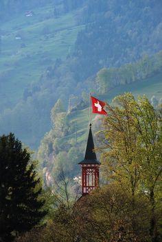 Swiss Flag, Weggis, Switzerland - where my mother grew up