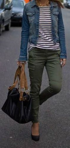 outfit idea for my new olive skinny jeans. I like the pairing with stripes and a., outfit idea for my new olive skinny jeans. I like the pairing with stripes and a jean jacket Mom Outfits, Casual Fall Outfits, Winter Outfits, Women's Casual, Teacher Outfits, Dress Casual, Ladies Outfits, Summer Outfits, Casual Hair