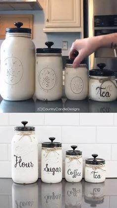 Set of 4 Mason Jar Canisters with Wording- cool idea for holding flour sugar coffe and tea! Kitchen mason jar chalk paint Set of 4 Mason Jar Canisters with Wording- cool idea for holding flour sugar coffe and tea! Mason Jar Projects, Mason Jar Crafts, Mason Jar Diy, Paint For Mason Jars, Coffee Jar Crafts, Decorating With Mason Jars, Mason Jar Painting, Pickle Jar Crafts, Mason Jar Storage