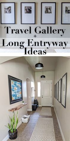 Narrow Hallway Decorating, Narrow Entryway, Foyer Decorating, Decorating Bathrooms, Decorating Ideas, Hallway Wall Decor, Entryway Decor, Entryway Ideas, Hallway Ideas