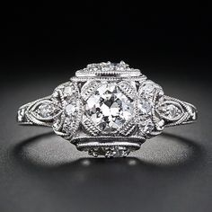 Petite Art Deco Platinum and Diamond Engagement Ring - 10-1-4585 - Lang Antiques
