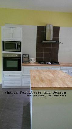 https://www.i-sabuy.com/ KTBUK1703 บิ้วอินตู้ห้องครัวสีขาว ท็อปปูไม้ยางพารา