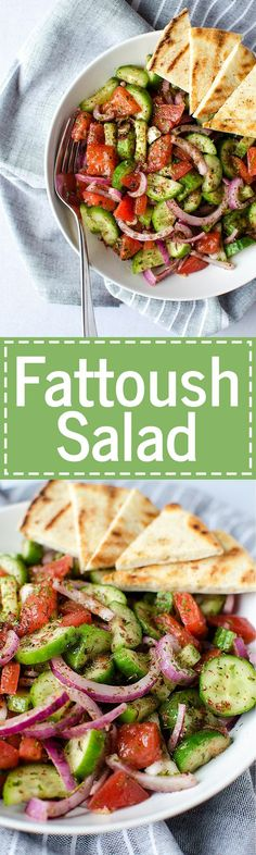 Fattoush Salad - A Simple And Easy Middle Eastern Salad That Comes Together In Just Minutes. It's Piled High With Fresh Veggies And Leaves You Feeling Healthy And Satisfied. Vegetarian and Gf Recipe At Gf Recipes, Raw Food Recipes, Vegetarian Recipes, Cooking Recipes, Healthy Recipes, Lebanese Food Recipes, Easy Plant Based Recipes, Veg Salad Recipes, Recipies