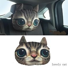 1 pcs Lovely Cute 3D cat&dog Plush Neck Cartoon Car Head and Body Support Pillow Seat Neck Pillow New,Purify air, odor removal (love cat)