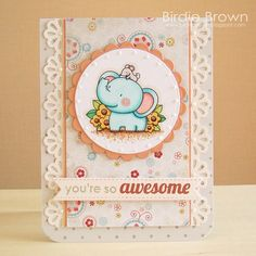 Digital stamp : Friends - Elephant & Mouse (Birdie Brown), Created by Torico Homemade Greeting Cards, Homemade Cards, Baby Girl Cards, Scrapbook Cards, Scrapbooking, Unique Cards, Copics, Digital Stamps, Kids Cards