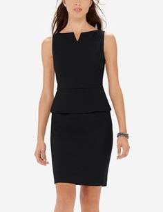 Peplum Sheath Dress - A polished dress that works for the office or a tasteful occasion! Subtle texture with a slight sheen stands out without overpowering.