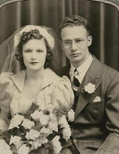 Antique Wedding Photo Pretty Bride Flowers Handsome Groom Round Glasses Utica NY   eBay