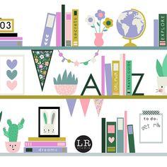 It's a shelf thing! Go and find our new desktop up on the blog this week. Link in bio . . . . . . #lemonribbonstudio #desktop #freebies #bookshelf #design #illustration #plant #books