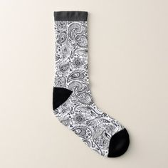 Elegant black and white vintage floral paisley socks - diy cyo customize create your own personalize