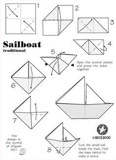 DIY Nautical baby shower  origami sailboat.