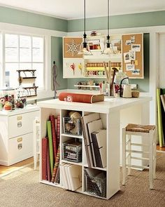 More craft room inspiration. I would LOVE to have my own little craft room/study some day! Craft Room Storage, Room Organization, Craft Rooms, Storage Ideas, Paper Storage, Table Storage, Office Storage, Organizing Life, Basement Storage