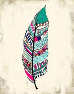 Tribal Feather Art Print 11 x 14 por agirlandherbrush en Etsy Art Tribal, Tribal Feather, Feather Art, Feather Painting, Feather Drawing, Feather Headdress, Tribal Prints, Tattoo Heaven, Tattoo Indien