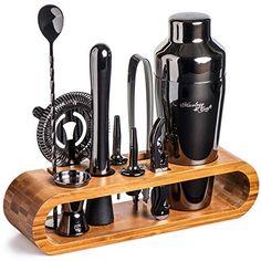 Mixology Bartender Kit: Black Bar Set Cocktail Shaker Set with Stylish Bamboo Stand Set Cocktail, Cocktail Shaker, Cocktail Gifts, Mojito, Whisky, Mixology Bar, Martini, Fun Cocktails, Drinks