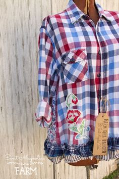 Farm Girl Fancies Upcycled Flannel Shirt/Jackets A-Line Style for us curvy Gals By: Sweet Magnolias Farm .. now in our Etsy Shop
