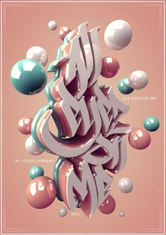 3D type with pastel balls.