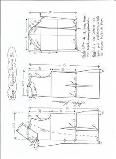 Esquema de modelagem de blazer alfaiataria gola de bico tamanho 36.