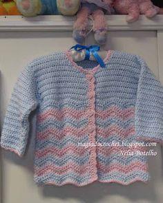 Magia do Crochet: Azul e rosa para o casaco em crochet e branco para o sapatinho