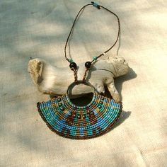 Beaded macrame necklace free spirit blue by MammaEarthCreations
