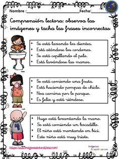 Comprensión lectora primaria y primer grado FRASE CORRECTA Nuevas actividades para trabajar la conciencia léxica y la comprensión lectora mediante el ordenamiento y creación de frases, listas para imprimir. La comprensión lectora es el... 1st Grade Spelling, Spanish Teaching Resources, Professor, Classroom Jobs, Reading Comprehension Passages, Word Sorts, Text Features, Reading Activities, Speech And Language