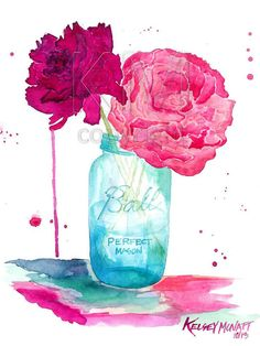 Watercolor Painting Print, Peonies and a Mason Jar - Home decor and wall art on Etsy, $25.00