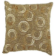 Calico Swirl Beaded Pillow - Gold