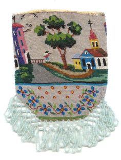 Figural New England Coastal Village 'Looking Out to Sea' Beaded Reticule from Caldwell Collection (Historical Provenance)