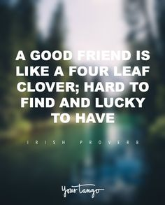 """A good friend is like a four leaf clover; hard to find and lucky to have."" — Irish Proverb"